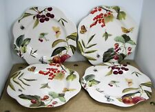"""Spode Fruit Haven Daisy Plate 9.5"""" Scalloped Edge Bees Butterflies 2005 Set of 4"""