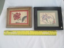 Two signed Kawazu Hiroko Japanese Flower Paintings on silk listed artist 1937-