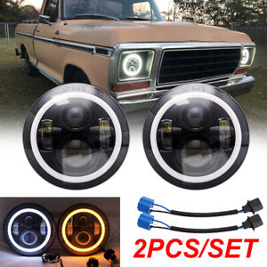 Pair 7inch Sealed Beam LED Headlights For Ford F-100 1975-1979 Jeep Wrangler JK