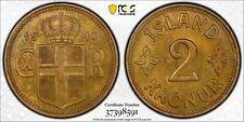 ICELAND. 2 Kronur, 1940. PCGS SPECIMEN-64 Gold Shield.