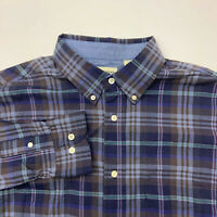 Haggar Button Up Shirt Mens Large Stretch Blue Brown Plaid Long Sleeve Casual