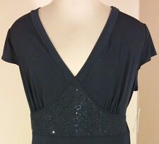 BCX Ladies Black Short Sleeve Deep V-Neck Top Blouse Size 1X Embelished