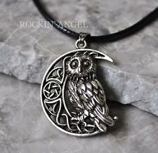 Antique Silver Plt Celtic Moon & Owl Pendant Necklace Ladies Gift Wiccan Pagan