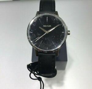 NEW Nixon Kensington Leather Watch Silver Black Womens A108-000-00 Accessories
