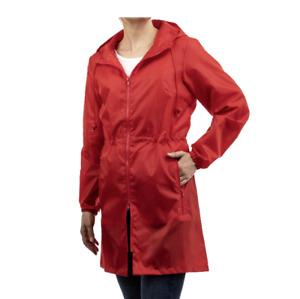 Totes Women's Red Packable Adjustable Waistline  Anorak Rain Jacket Size L/XL