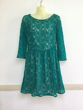 French Connection 8 Teal Green Lace Lined Party Vintage Retro Wedding Dress