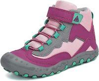 Mishansha Boys Girls Water Resistant Hiking Boots Anti Collision, Rose, Size 6.0