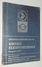Betriebsanleitung für Simson Kleinkraftfahrzeuge Ausgabe 1971