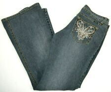Angels Juniors Low Rise Flare Leg Blue Jeans 11, Sequin Embellished