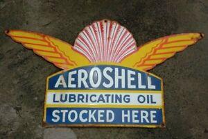 """Porcelain Aeroshell Enamel Sign Size 15"""" x 28"""" Inches"""