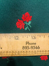 Vintage Fabric COLD RAYON FLOCKED Fuzzy Red Roses Dark Hunter Green 46x1y+10""