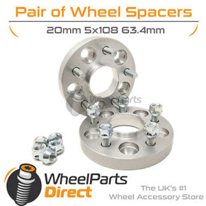 Bolt-On Wheel Spacers (2) 5x108 63.4 20mm for Jaguar XKR-S 08-14