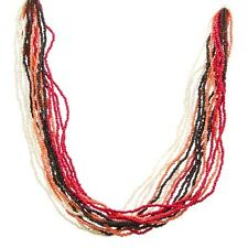 """30"""" Long Seed Bead Multi Strand Red Pink White Brown Silver Tone Beaded Necklace"""