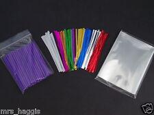 "50 x 3.5"" PURPLE CAKE POP KIT PLASTIC STICKS CELLO BAGS & METALLIC TWIST TIES"