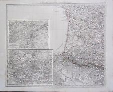 1870 DATED MAP ~ SOUTH WEST FRANCE + LYON PARIS ~ ADOLF STIELERHAND COLOURED