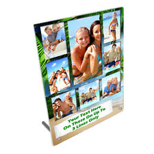 """Personalised 8 Photos Summer Beach 8"""" x 10"""" Toughened Glass Panel With Peg Stand"""