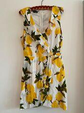 PARISIAN Women's Size 12 Lemon Print Mini Wrap Dress, White/Yellow