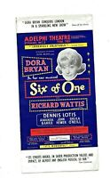 """Original Flyer  for """"Six of One"""" with Dora Bryan at Adelphi Theatre"""