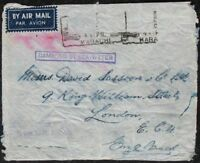 s1906) Flugpost Indien Crash Cover Airmail Karachi - London Damaged by Sea-Water