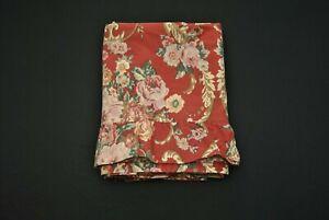 VTG Ralph Lauren Twin Flat Bedsheet Red Floral Marseilles Danielle