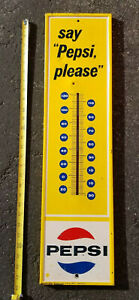 VINTAGE  Say Pepsi Please Bottle Yellow Gas Station Thermometer Sign