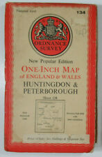1946 OS Ordnance Survey One-Inch New Popular Ed Map 134 Huntingdon Peterborough