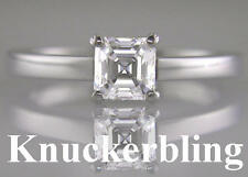 Diamond Engagement Ring 0.70ct Certified H VS2 VG Asscher Cut in 18ct White Gold