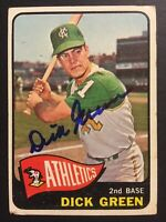 Dick Green Athletics A's Signed 1965 Topps Baseball Card #168 Auto Autograph 1