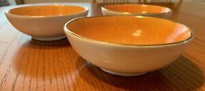 "Vintage Set Of 3 Pottery Barn Gold Rim Porcelain Small Bowls RARE 5 3/4"""
