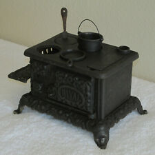 ANTIQUE RIVAL CAST IRON TOY CHILD'S STOVE SALESMAN SAMPLE w/SOME ACCESSORIES