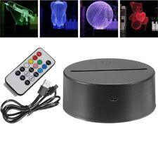 Lamp Base Push-Key 3D Night Light Acrylic Plate Panel Holder + USB Cable+Remote
