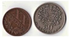 2 Portugal portugués monedas de 20 y 50 centavos 1945 escasa grado de cheque