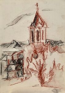ORIGINAL pastels painting on paper SIGNED by artist architecture Church