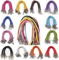 10Pcs Leather Braid Rope Hemp Cord Lobster Clasp Chain DIY Bracelet Many Colors