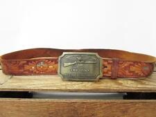 VINTAGE Southwest Hopi Sun Tooled Leather Second Amendment Gun Brass Buckle Belt
