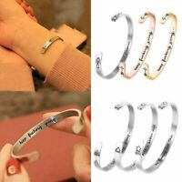 Fashion Engraved Silver Stainless Steel Letter Love Cuff Bangle Bracelet Jewelry