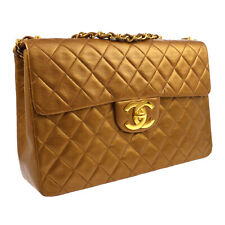 CHANEL Quilted CC Jumbo Double Chain Shoulder Bag 2422036 Purse Bronze A36142c