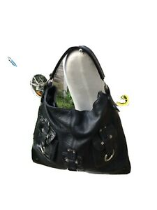 Large Black Russell and Bromley Leather Slouch Shoulder Bag