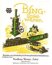 Bing Spielwaren Katalog 20er 30er J Kaufhaus Wanner Aalen NACHDRUCK HB4µ *