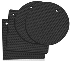 Heat Resistant Hot Pan Stand  Silicon Kitchen Trivet Mat Worktop Protector Black