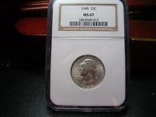 1948 Washington Silver Quarter 25c  NGC  MS67