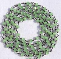 10 Feet Green Chalcedony Hydro Rosary Beaded Chain 3.50mm Beads Black Plated