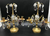 Pair Antique Girandoles FRENCH Bronze CRYSTAL FRUIT Candelabras TILDEN THURBER