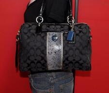 COACH Black Python Jacquard Signature Medium Stripe Shopper Tote Purse Bag 24884