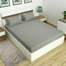 Solid Uni Microfibre Bed Sheets Flat Slim Fitted Cushion Cover Appearance Grey