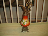 Antique Victorian Urn Ewer Vase Pitcher Metal Porcelain Painted Flowers