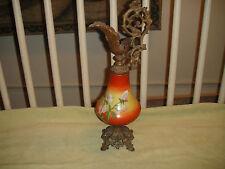Antique Victorian Urn Ewer Vase Pitcher-Metal & Porcelain-Painted Flowers-Large