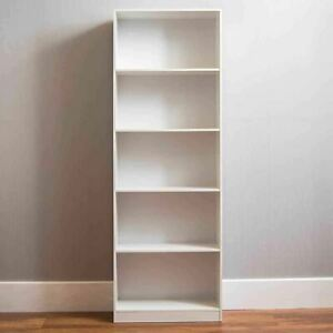 White 5Tier Bookcase Shelf Tall Wooden Shelves Bookshelf Storage Shelving Unit