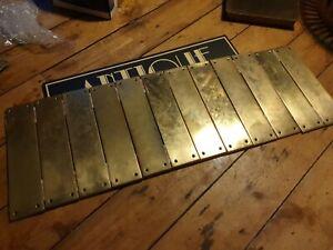 antique old Vintage enamel finger push door plate
