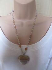 Lola Rose Grey Brown Multi Semi Precious Stones Bead Heart Necklace & Pouch  NEW